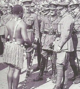 South African officers and soldiers at a folkloric presentation