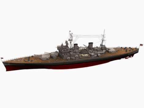 3d model of battleship HMS King George V
