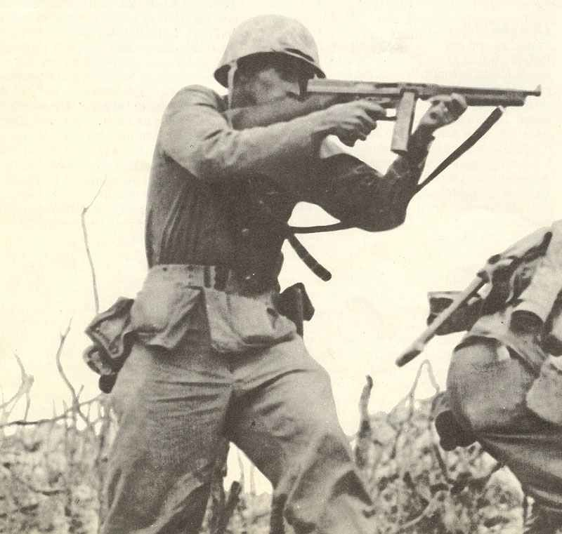 Marines is aiming with his Thompson