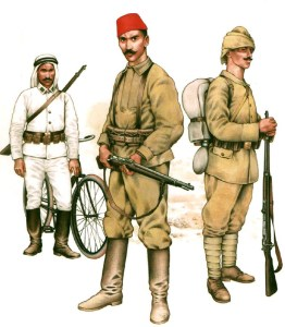 Infantry of Ottoman Army, from left to right: Arab bicycle soldier (1915), Infantryman on Russian front (1917), Turkish line infantryman (1914).