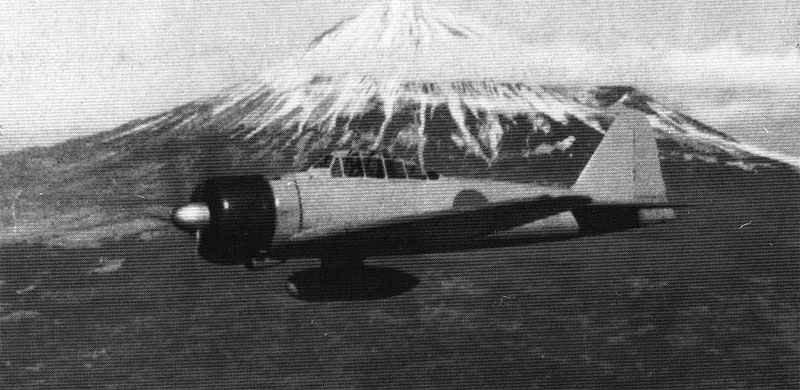 Zero flying near Mt Fuji