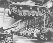 Final assembly of StuG assault guns.
