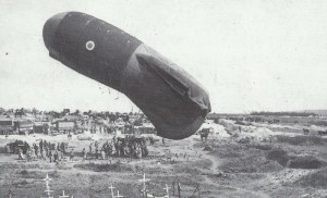 British observation balloon is lowered