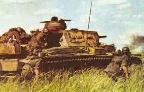Panzer III used as shiled for the infantry