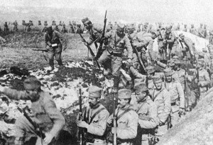 Serbian infantry leave their trenches