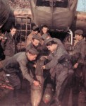 Italian ground crew is loading a bomber
