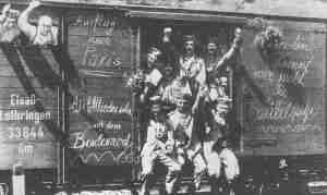 German reservists in train to the West