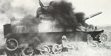 Burning M3A3 Lee Russian front