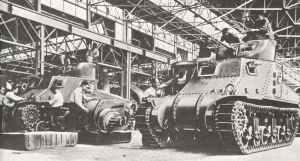 M3 tanks under construction at the Detroit Arsenal