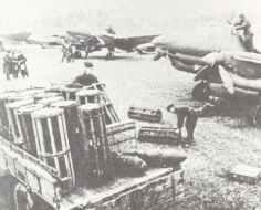 Unloading bombs for Petlaykov Pe-2 dive bombers