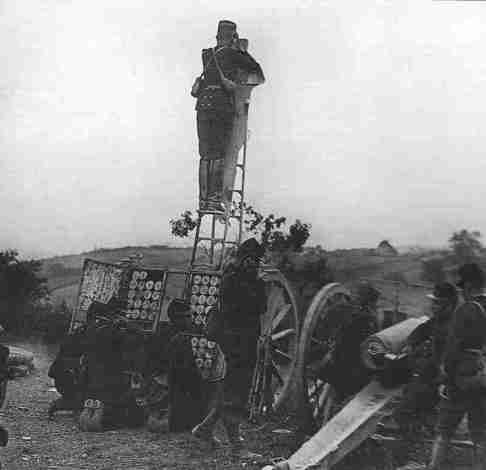 French 75mm field gun in action