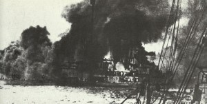 battle-cruiser Seydlitz on fire during the Battle of Jutland