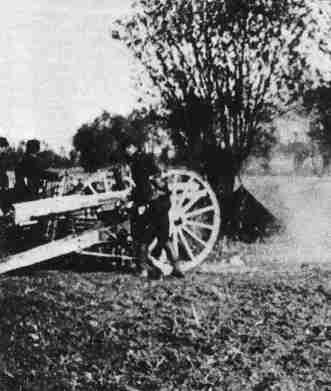 French 75mm gun in action