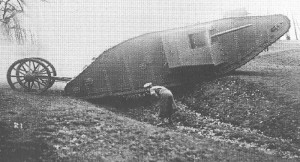 'Mother', the prototype for the British tanks, on a test run