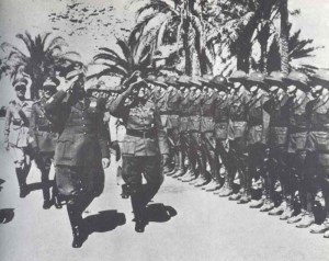 Romel gives a reception to new arrived units of the Afrika Korps