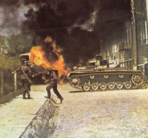 German infantry and a Panzer III in street fightings