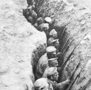 Russian infantry in trenches