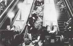 Underground Station in London as air raid shelter