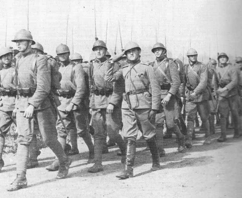 Men of the Belgrade 'Iron Regiment' on the march