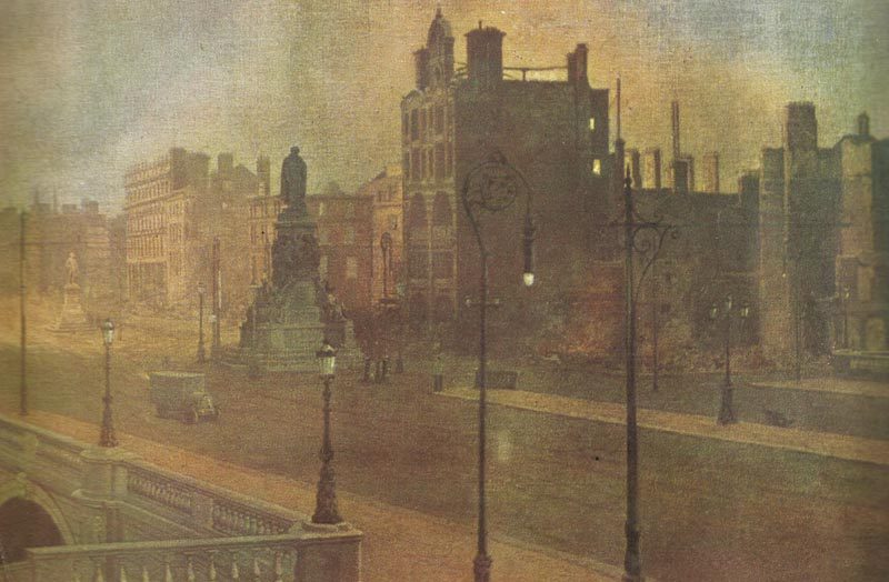 O'Connell Street in Dublin after the British bombardment