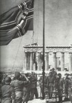 German battle flag is hoisted in front of the Parthenon