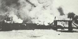 Tower Bridge in heavy smoke