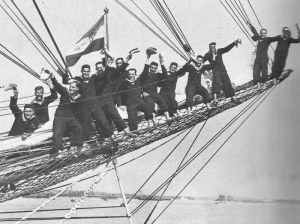 Yugoslav cadets on the bowsprit of the training vessel Jadran