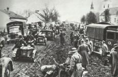 motorized German troops advance on worse roads