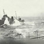 Torpedo boat next to a battleship