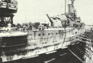 Damaged battleship 'Warspite'