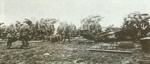 battery of German 210-mm howitzers