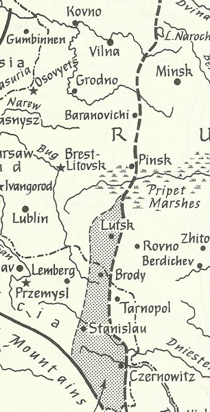 map Brusilov offensive
