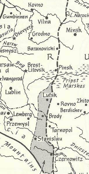 map Brusilov offensive