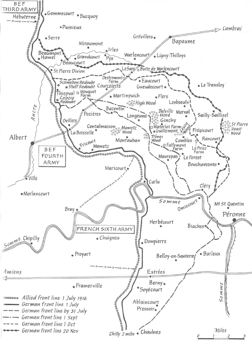 Map Battle of the Somme