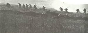 British infantrymen move forward at the Somme