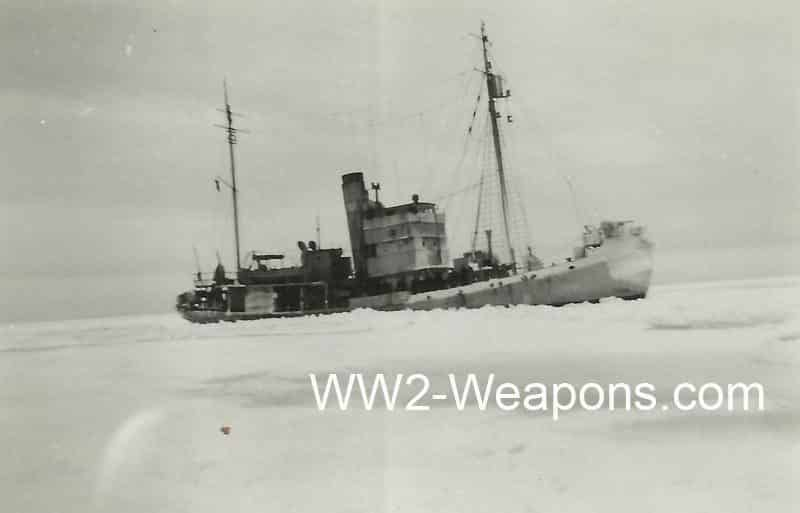 German minesweeper in ice seas