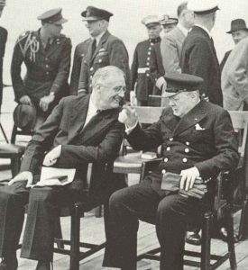 Roosevelt and Churchill on board of HMS Prince of Wales