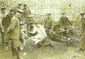 Veterinarians of a German cavalry regiment at work