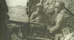 French soldiers man a German machine gun