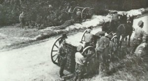 British 18-pdr field guns deployed