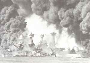 burning battleships West Virginia and Tennessee