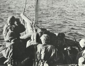 Soldiers of the LSAAH in the daring crossing in fishing boats to Patras
