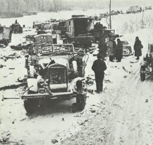 Russians search the remains of a German column