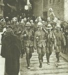 British troops march through the streets of Kut