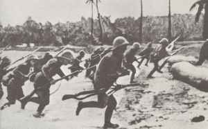 Japanese troops storming a beach