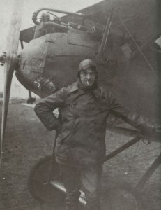 Emil Meinecke poses beside his Halberstadt fighter