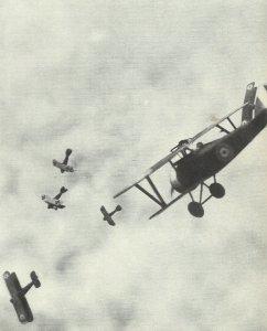 Air combat between British and German fighters
