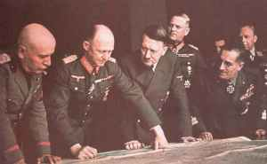 Hitler confers with his leading generals and Mussolini
