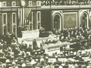 President Woodrow Wilson addresses Congress