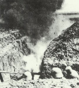 German soldiers take cover inside the trench